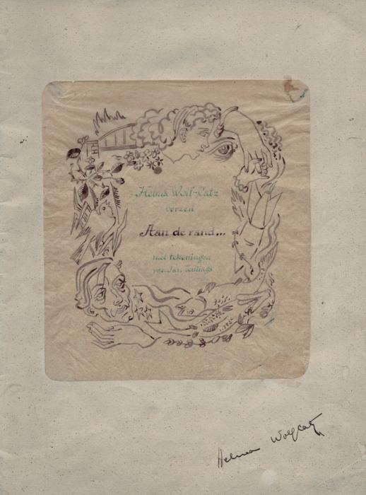 Aan de rand…: verzen. P. de Lange, Deventer, 1944.  Door Helma en de illustrator, Jan Teulings (Johannes Marinus Antonius Teulings, 1905-1989) in handschrift vermenigvuldigd en clandestien uitgegeven.