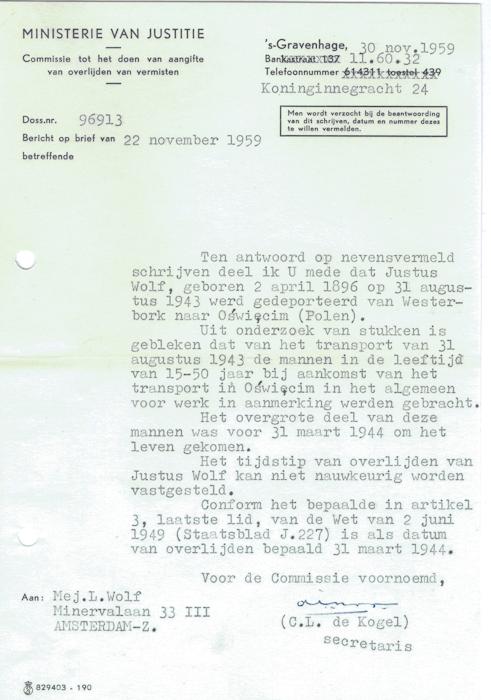 1959. Brief van Ministerie van Justitie