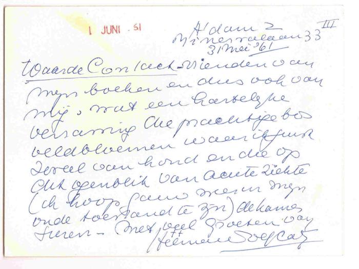 1961. Briefkaart aan Uitgeverij Contact