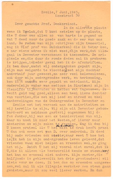 1945. Brief van Helma aan N Donkersloot