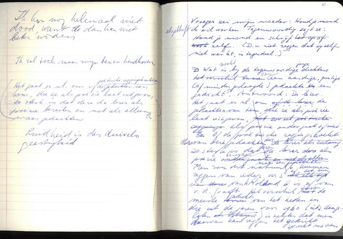 1971. aantekeningen en aforismen op de eerste pagina's van Van wit en van zwart