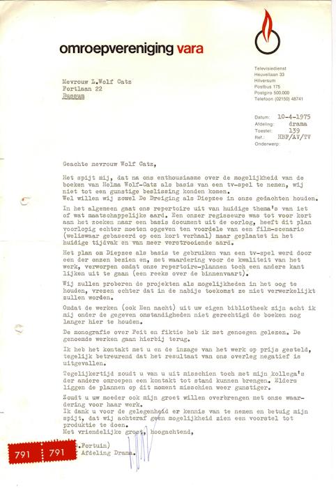 1975. brief van de VARA aan Loeka