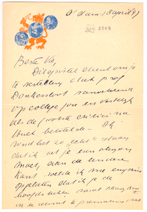 1945. Brief aan Victor van Vriesland